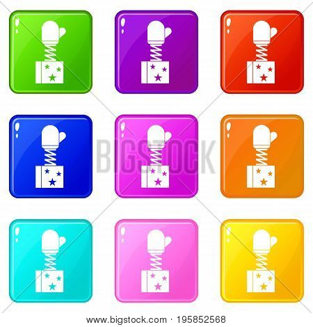 Hand on spring in box icons of 9 color set isolated vector illustration
