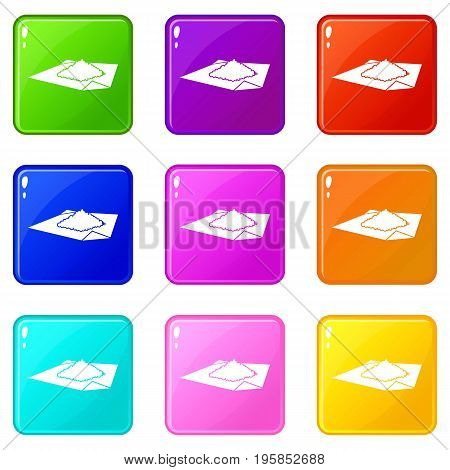 Powder marijuana icons of 9 color set isolated vector illustration