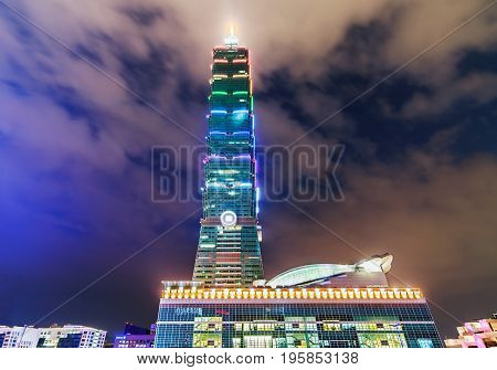 TAIPEI Taiwan - December 31 2012: Taipei 101 (Taipei World Financial Center) a landmark tallest skyscraper in Xinyi District at night time