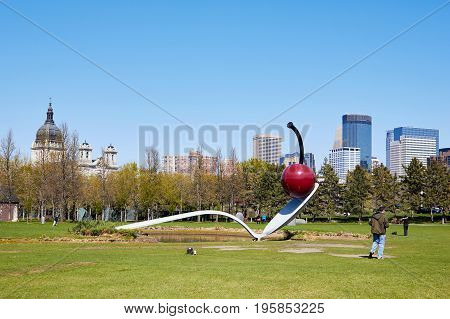 Minneapolis USA - April 11 2012: Minneapolis Sculpture giant spoon and cherry