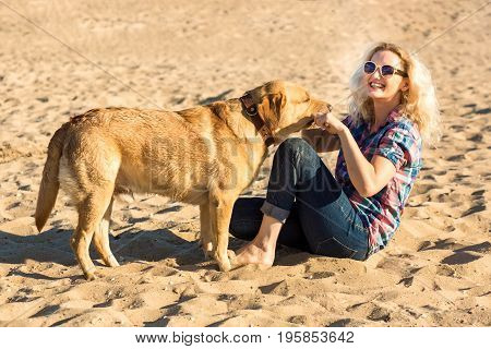 Portrait of young beautiful woman in sunglasses sitting on sand beach hugging golden retriever dog. Girl with dog by sea. Happiness and friendship. Pet and woman.woman playing with dog on sea shore