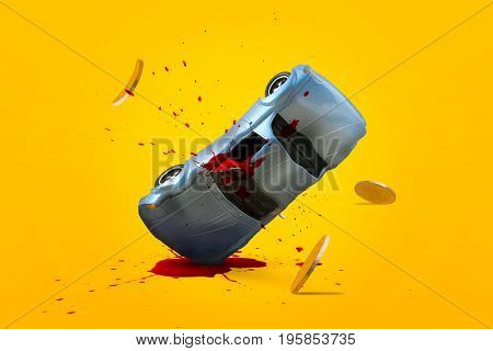Car accident with damage blood splash and gold coins falling down and explosion scene Car crash insurance and lose money. Safety Emergency Installment payment Transport and Accident Concept.