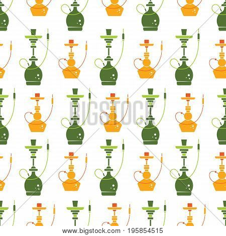 Vector hookah seamless pattern with different colorful hookah symbols. Vector background in flat style. Perfect for packaging design or menu.