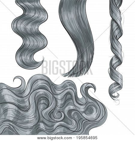 Set of shiny long grey fair straight and wavy hair curls, sketch style vector illustration isolated on white background. Set of hand drawn realistic healthy, shiny grey, flaxen hair curls