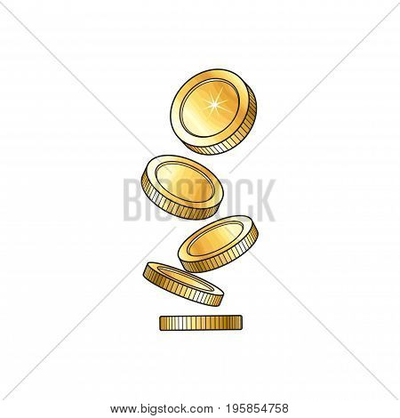 Vector golden falling coins illustration. Cartoon golden rain isolated on a white background. Dropping shiny money. Profit, wealth , success concept. Sign of banking, finance business. Winning symbol