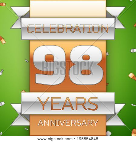 Realistic Ninety eight Years Anniversary Celebration Design. Silver and golden ribbon, confetti on green background. Colorful Vector template elements for your birthday party. Anniversary ribbon