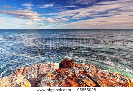 Rocky landscape on the Atlantic coast of the Cape Peninsula, the most south-western point of the African Continent, Cape of Good Hope, South Africa