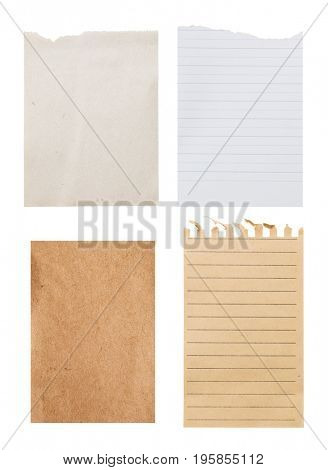 Set vintage different notes sheet -Clipping path included