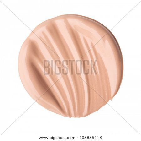 Smear foundation for the face. Isolated on white background