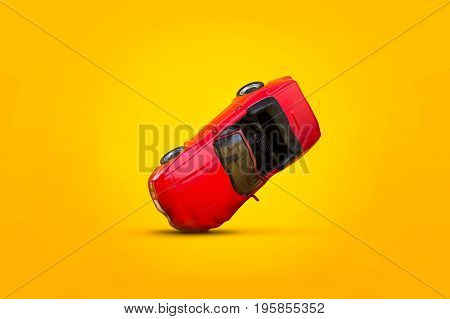 Red car accident with damage scene Car crash insurance. Travel Safety Transport and Accident concept. Isolated on yellow background.