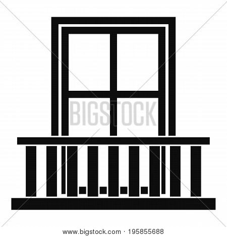 Window with balcony icon. Simple illustration of window with balcony vector icon for web