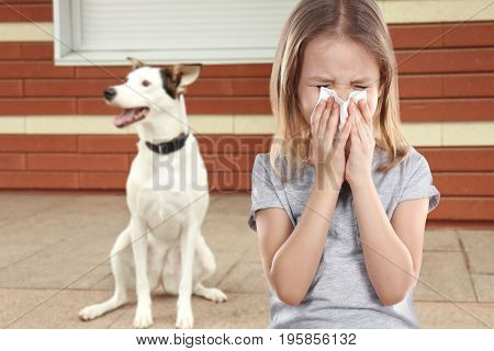 Little girl with tissue and pet on background. Concept of allergies to dogs
