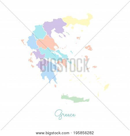Greece Region Map: Colorful With White Outline. Detailed Map Of Greece Regions. Vector Illustration.