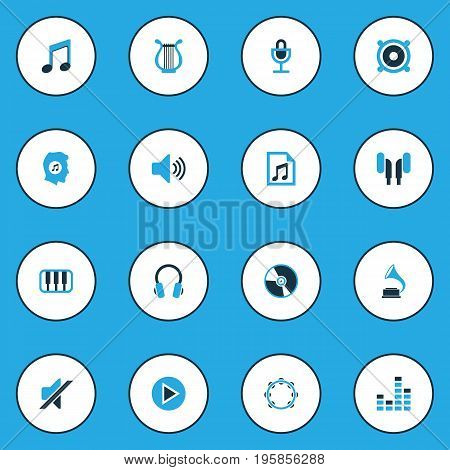 Multimedia Colorful Icons Set. Collection Of Note, Mute, Gramophone And Other Elements