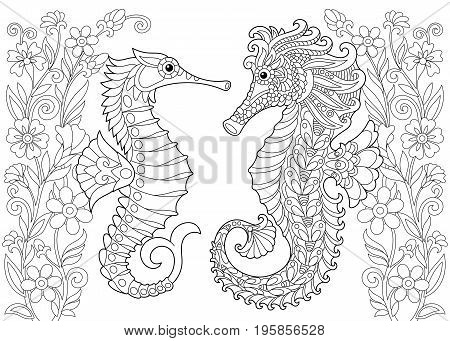 Coloring page of seahorse. Freehand sketch drawing for adult antistress colouring book with doodle and zentangle elements.