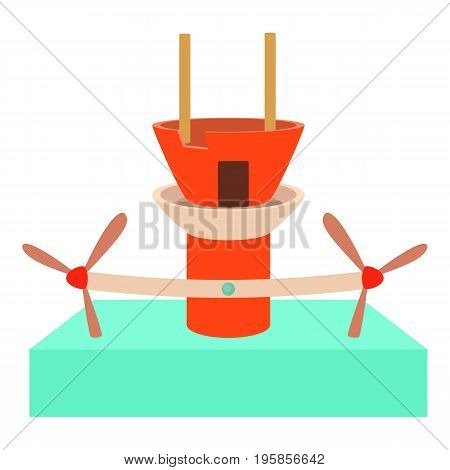 Water turbine icon. Cartoon illustration of water turbine vector icon for web