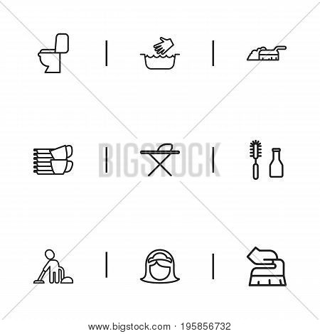 Set Of 9 Editable Cleaning Outline Icons. Includes Symbols Such As Maid, Sweeping, Metal Board And More