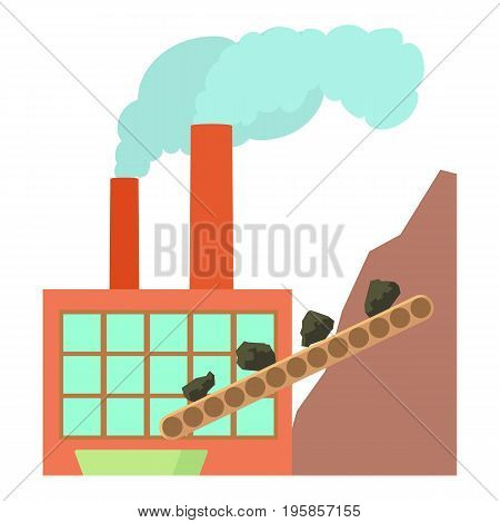 Coal factory icon. Cartoon illustration of coal factory vector icon for web