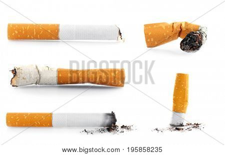 Collage of cigarette butts on white background