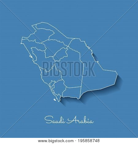 Saudi Arabia Region Map: Blue With White Outline And Shadow On Blue Background. Detailed Map Of Saud