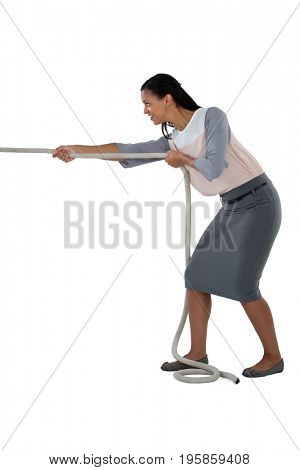 Businesswoman pulling the rope against white background