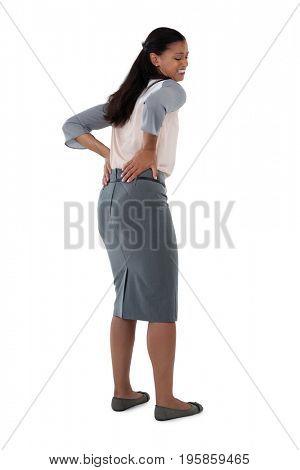 Close-up of businesswoman having an backache