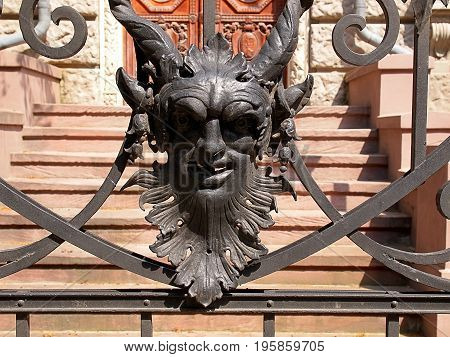 Mascarons from the Lodz palace. Lodz, Poland - July 18, 2017 Neo-Renaissance motif from Karol Poznanski Palace in Lodz.
