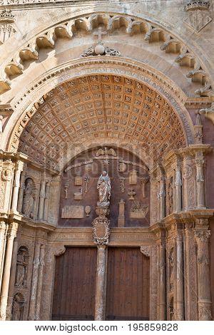 Close-up of a Catholic Gothic church Mallorca Spain