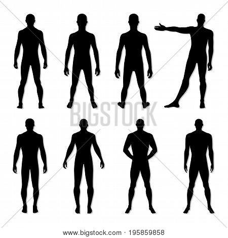 Fashion man body set full length bald template figure silhouette (front back view) vector illustration isolated on white background