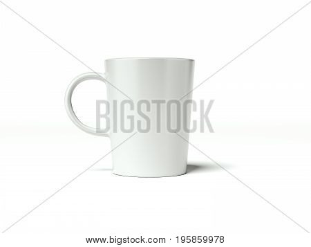 White blank cup isolated on white background. 3d rendering