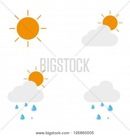 Icons describing the weather forecast. The sun. Sun with cloud. Sun with cloud and drops. Cloud with droplet