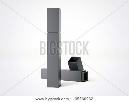 Black tall box isolated on white background. 3d rendering