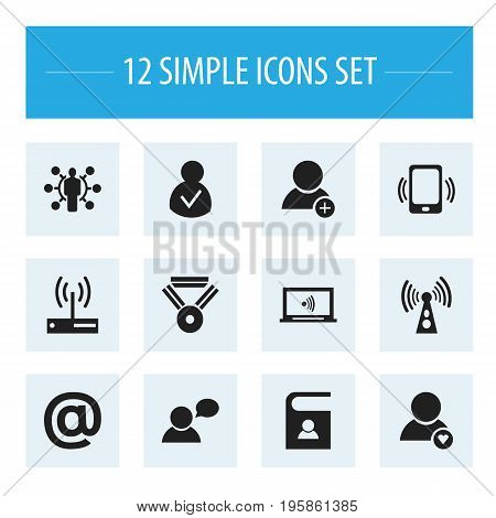 Set Of 12 Editable Internet Icons. Includes Symbols Such As Skill, Mail Symbol, Monitor And More