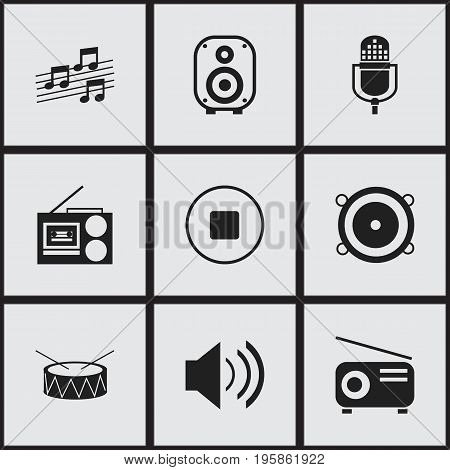 Set Of 9 Editable Music Icons. Includes Symbols Such As Media Fm, Cassette Player, Sound And More