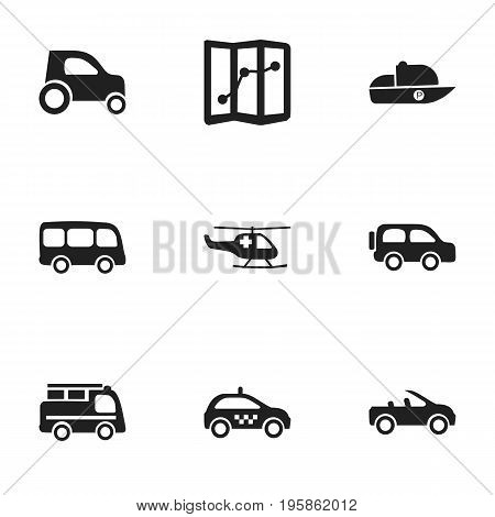 Set Of 9 Editable Shipment Icons. Includes Symbols Such As Part Of Car, Carriage, Emergency Copter And More