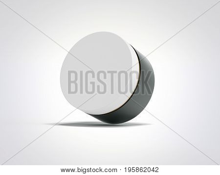 Beauty hygiene container with white cap isolated over bright background. 3d rendering