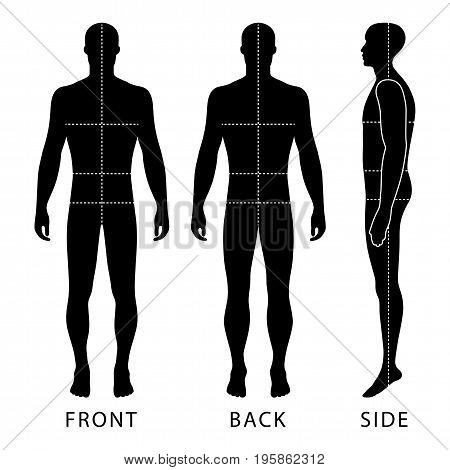 Fashion body full length bald template figure silhouette with marked body's sizes lines (front back and side view) vector illustration isolated on white background