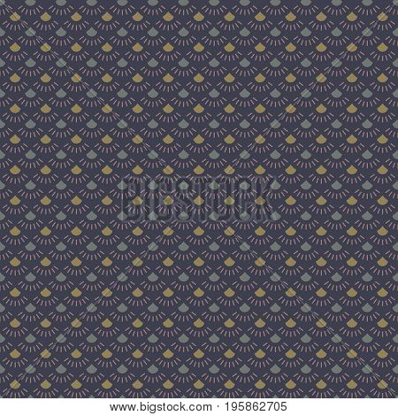 Abstract seamless pattern with shapes in gray and khaki colors with lilac radial beams on dark blue background