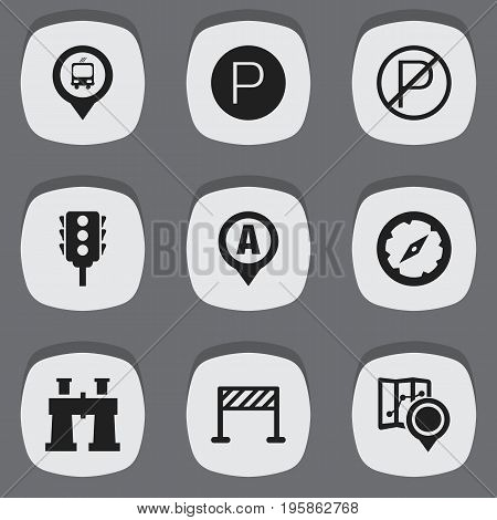 Set Of 9 Editable Map Icons. Includes Symbols Such As Stoplight, Spyglass, Street Construction And More