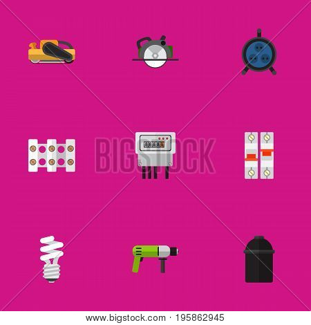 Set Of 9 Editable Instruments Flat Icons. Includes Symbols Such As Receptacle, Sandblast, Borer