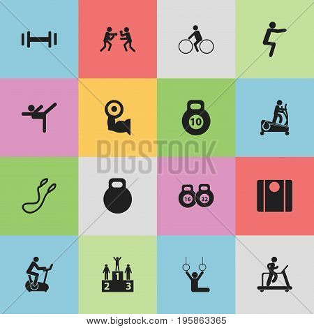 Set Of 16 Editable Healthy Icons. Includes Symbols Such As Workout, Acrobat, Balance And More