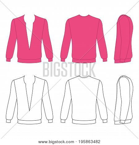 Long sleeve t-shirt outlined template (front side & back view) vector illustration isolated on white background