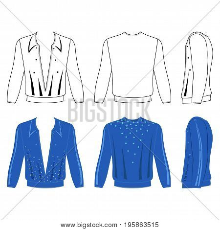 Man's ballroom dancing long sleeve t-shirt outlined costume template (front side & back view) vector illustration isolated on white background