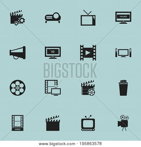 Set Of 16 Editable Movie Icons. Includes Symbols Such As Clapperboard, Television, Movie And More