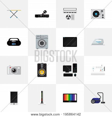 Set Of 16 Editable Home Flat Icons. Includes Symbols Such As Palmtop, Cassette Player, Sewing Machine And More