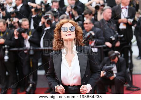 CANNES, FRANCE - MAY 18, 2017: Susan Sarandon attends the 'Loveless (Nelyubov)' screening during the 70th annual Cannes Film Festival