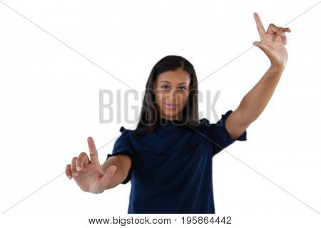 Female executive forming a finger frame against white background