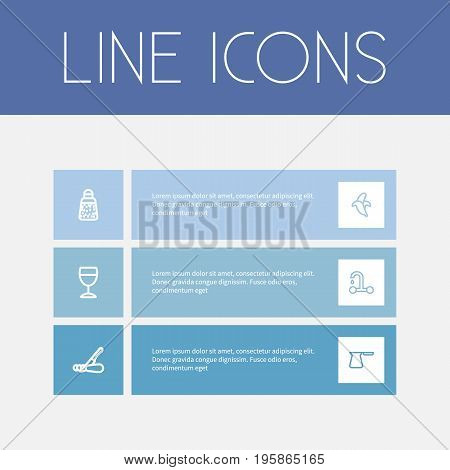 Set Of 6 Editable Cook Outline Icons. Includes Symbols Such As Glass, Powdered Pepper, Banana And More
