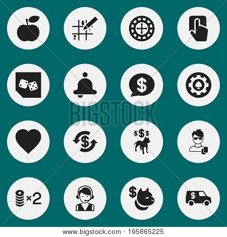 Set Of 16 Editable Business Icons. Includes Symbols Such As Puzzle, Dog Fighting Bet, Male Player And More