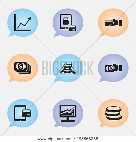 Set Of 9 Editable Financial Icons. Includes Symbols Such As Market, Internet Sale, Statistics And More